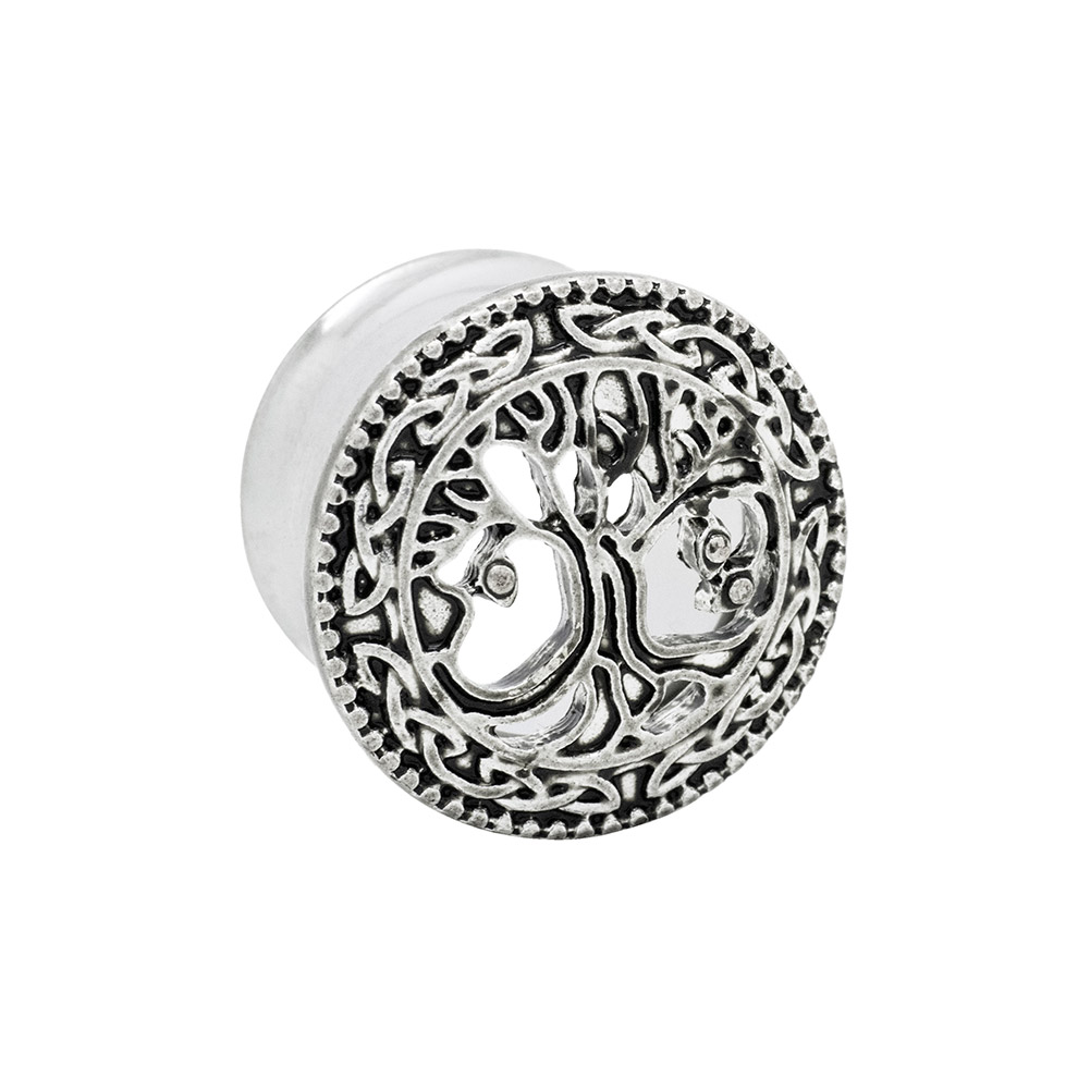 Blue Banana Tree Of Life Surgical Steel Plug 10-20mm (Silver)