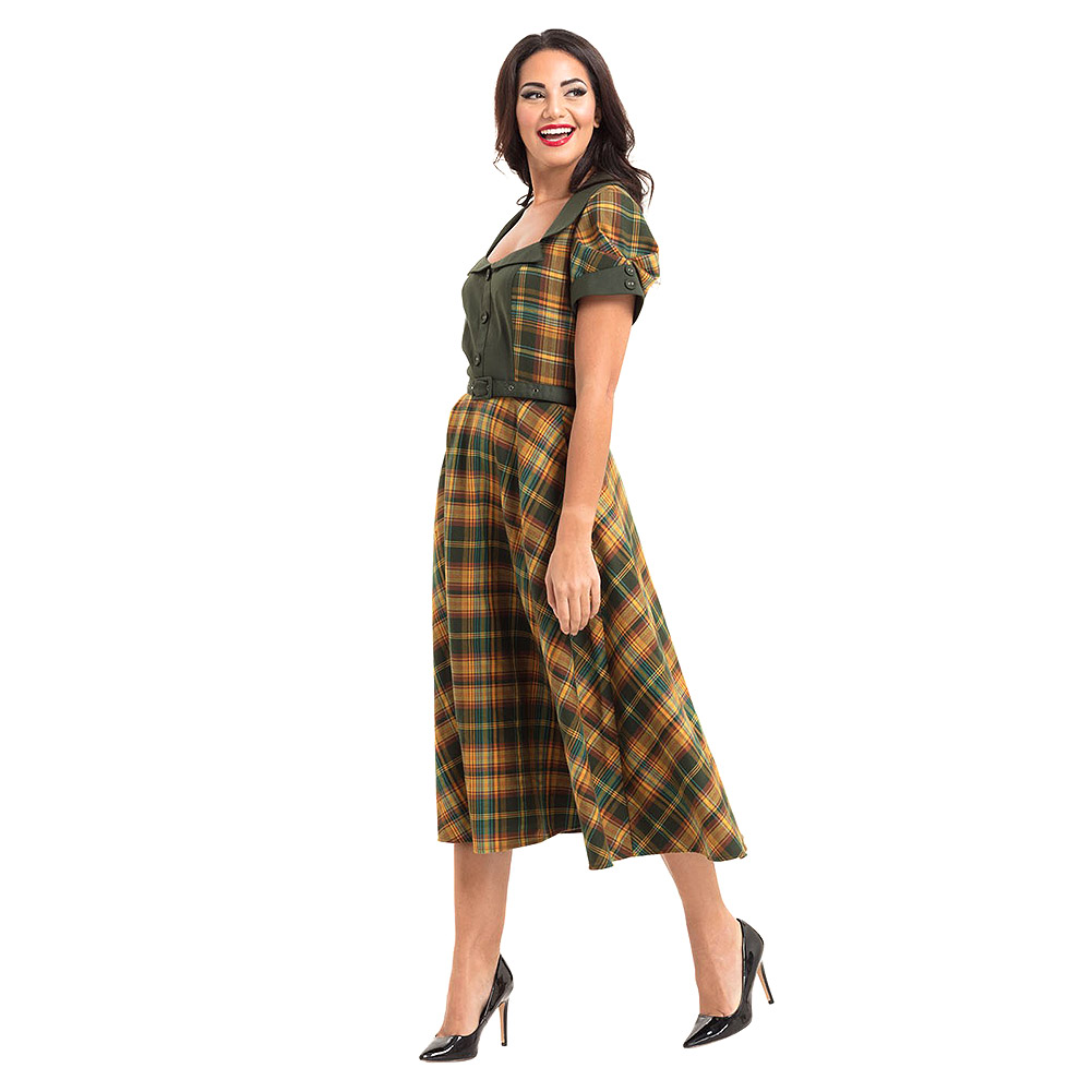 Long Uk Green Ella Dress Tartan Vintage Vixen Voodoo Clothing tpAPq