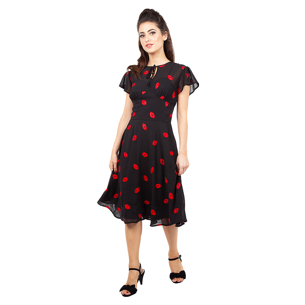 Voodoo Vixen Valerie Kiss Tea Dress (Black/Red)
