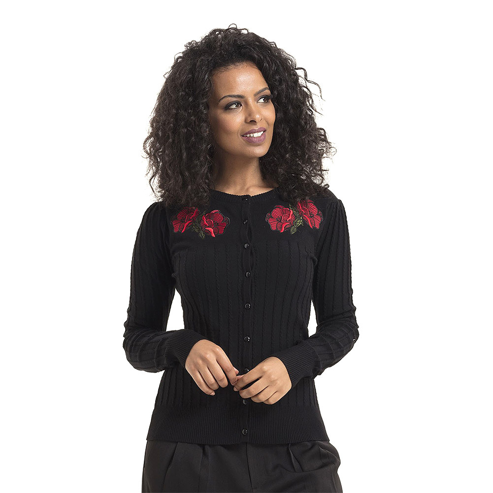 Voodoo Vixen Faith Poppy Cardigan (Black)