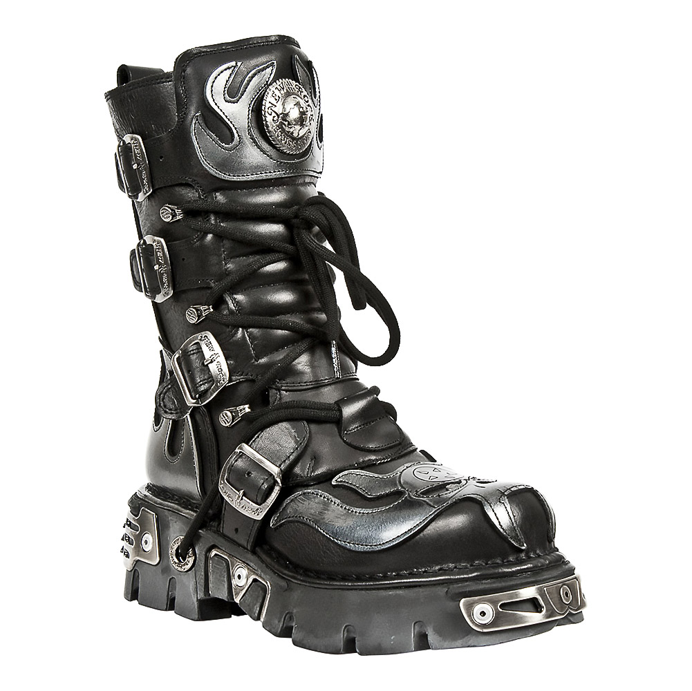 New Rock M.107-S2 Reactor Demon Flame Wadenstiefel (Schwarz)