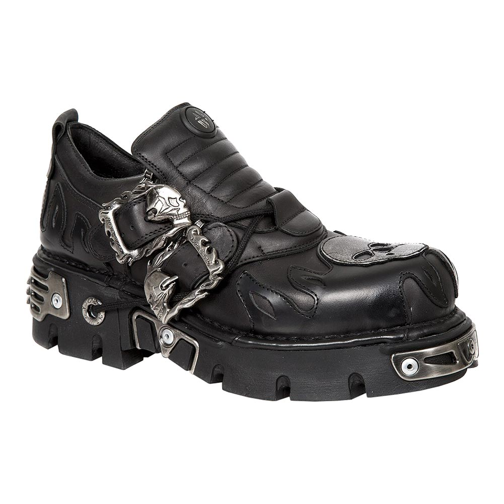 New Rock M.992-S2 Reactor Skull Flame Shoes (Black)