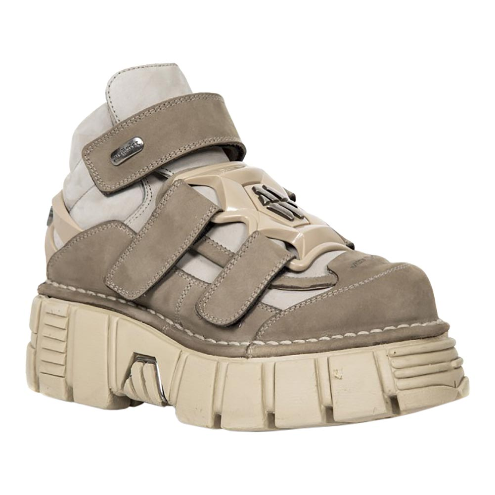 New Rock M.285-S20 Tower Alaska Ice Platform Shoes (White/Brown)