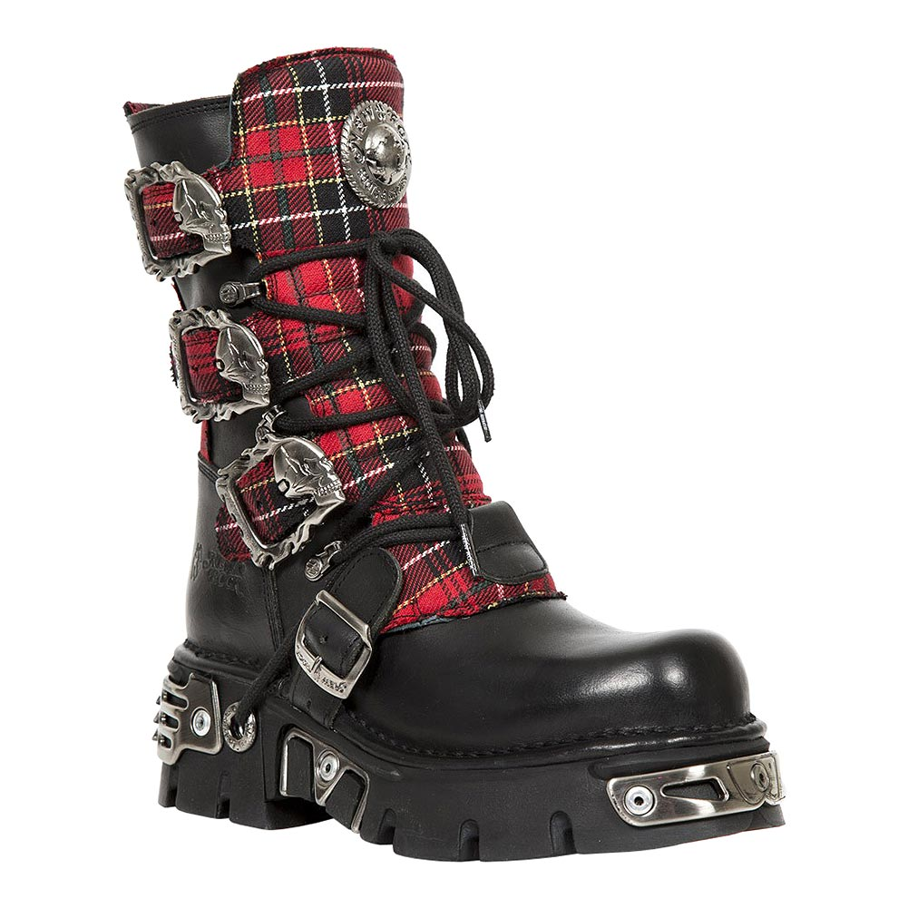 New Rock M.391T-S1 Reactor Tartan Half Boots (Black/Red)