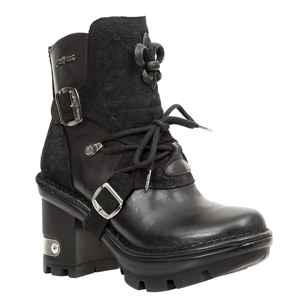 New Rock M.NEOTYRE65-S1 Neotyre Flowers Ankle Boots (Black)