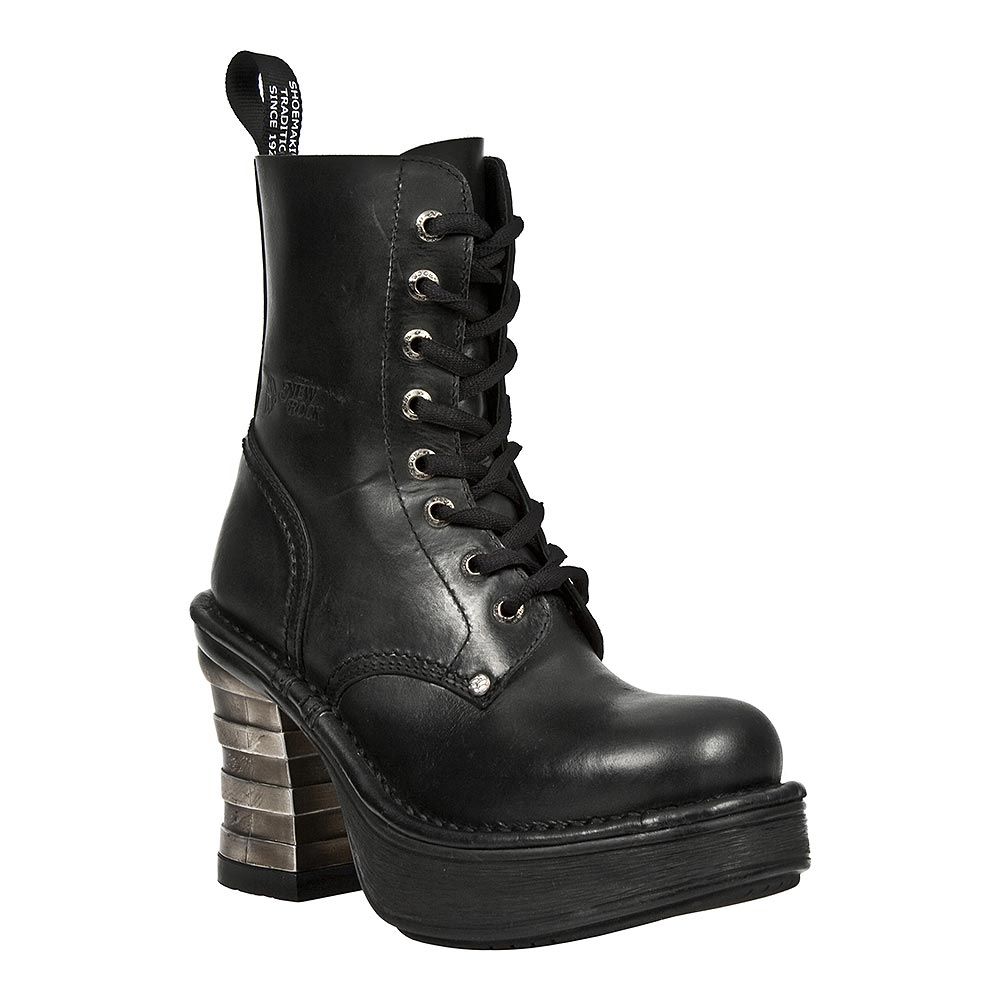 New Rock M.8354-S1 Platforma Metallic Half Boots (Black)