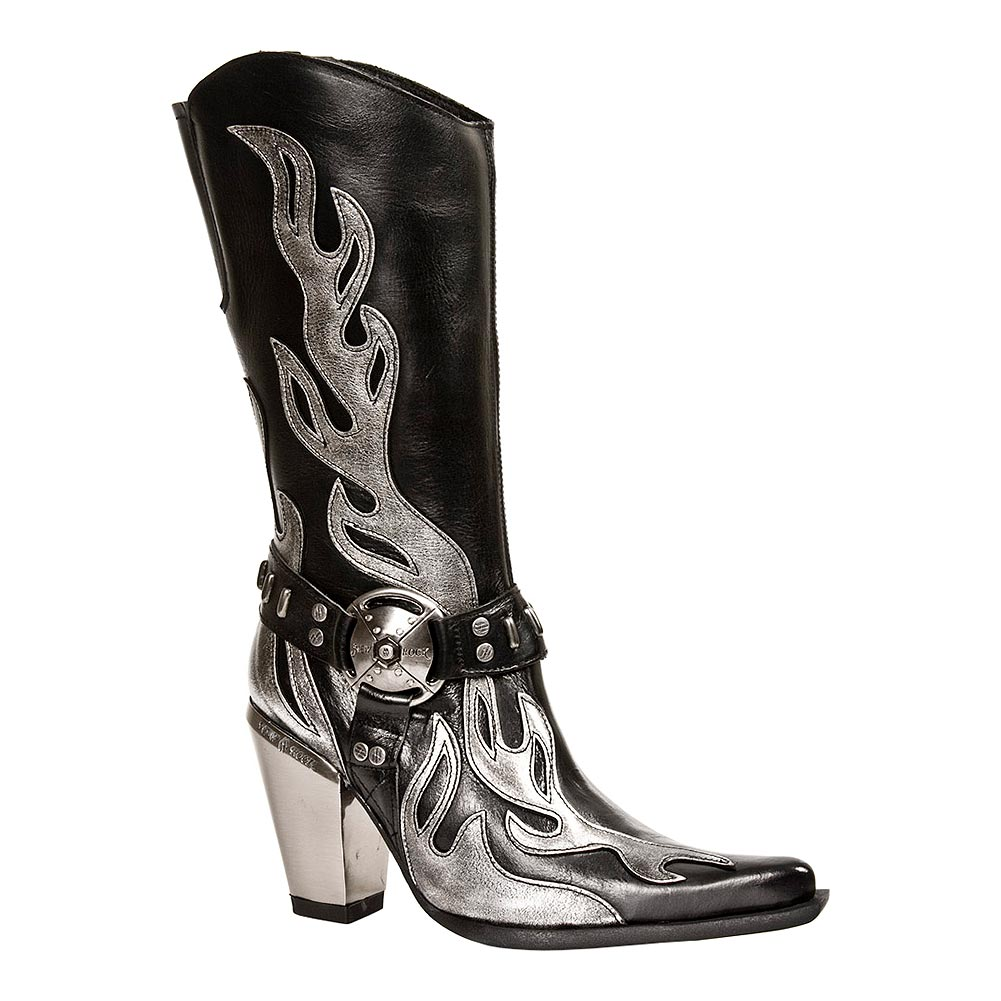 New Rock M.7901-S2 Bull Flame Heeled Boots (Black)