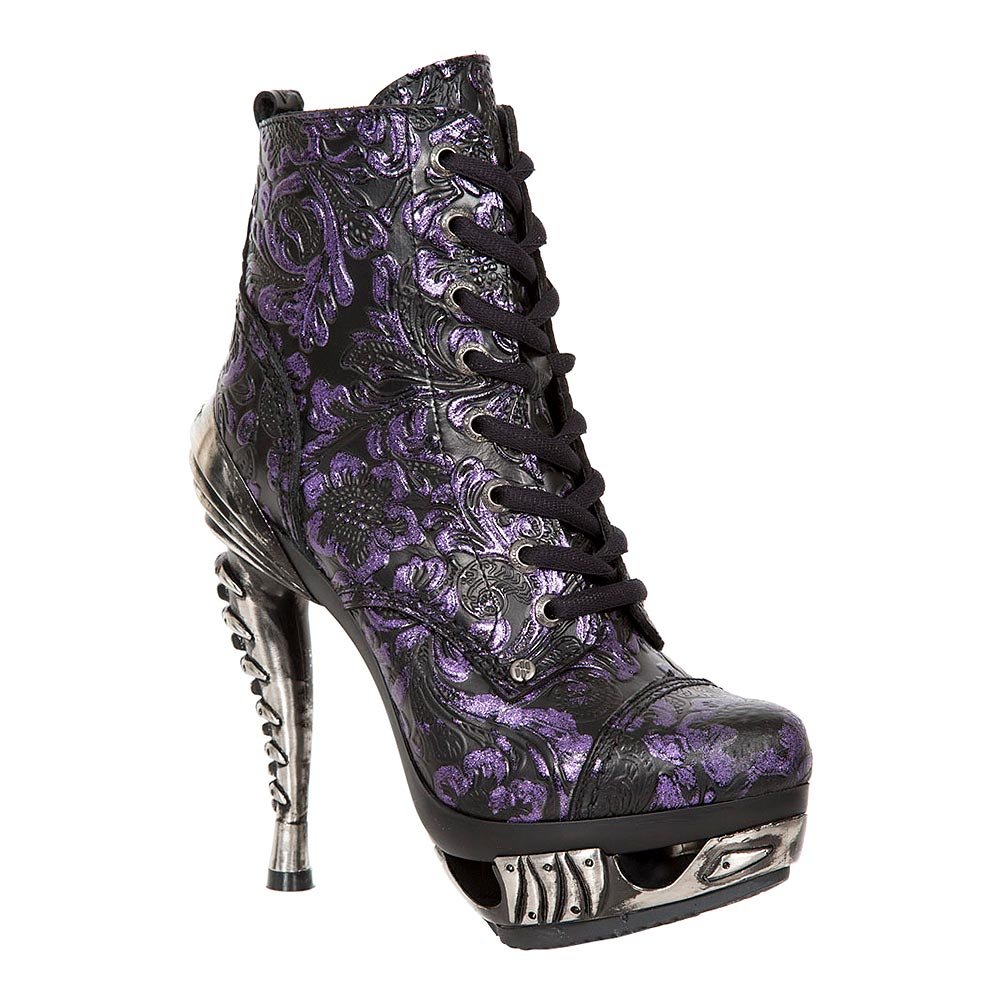 New Rock M.MAG016-S25 Magneto Flowers Heeled Boots (Black/Purple)