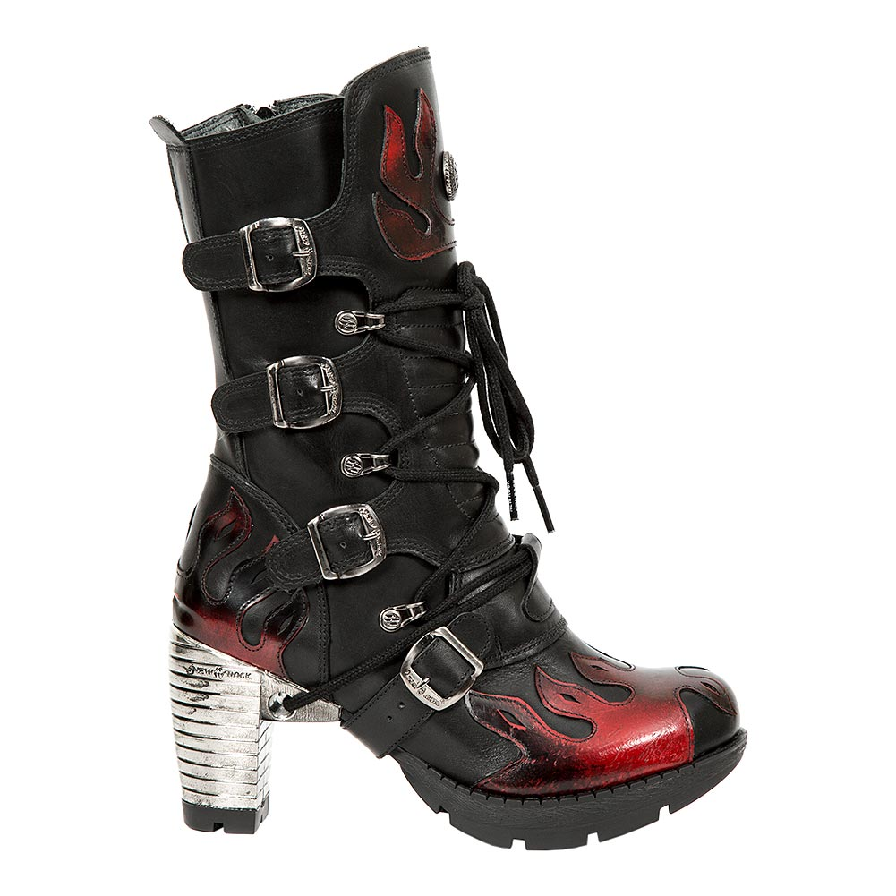 New Rock M.TR081-S1 Trail Flame Heeled Boots (Black/Red)