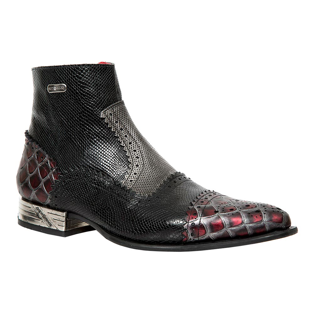 New Rock M.NW133-S12 VIP Snake Ankle Boots (Black/Red)