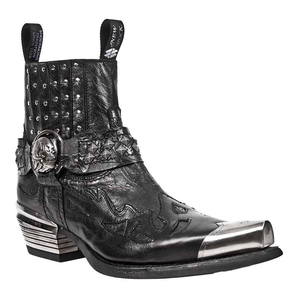 New Rock M.7950P-S1 Dallas Vintage Flame Boots (Black)
