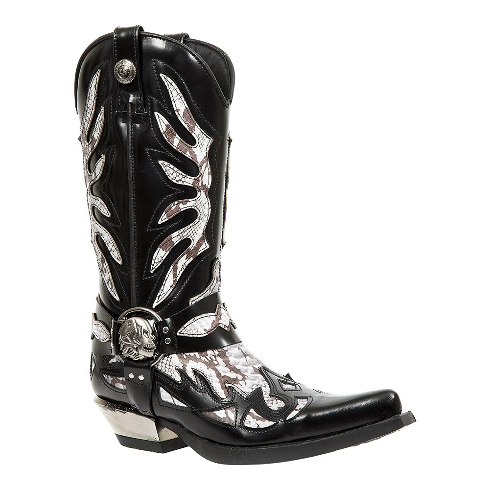 New Rock M.7991-S3 West Schlangen Flame Cowboy Stiefel (Schwarz)