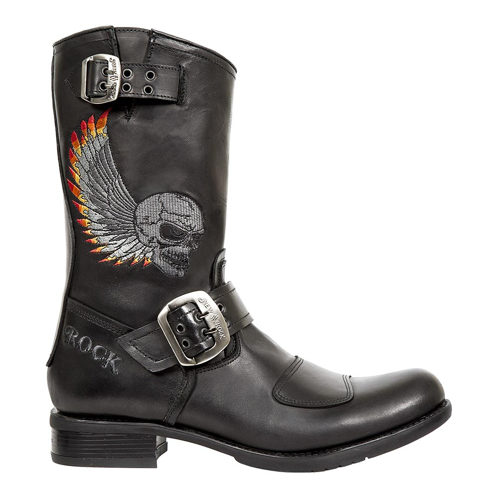 New Rock M.GY32-S10 Biker Embroidered Skull Half Boots (Black)