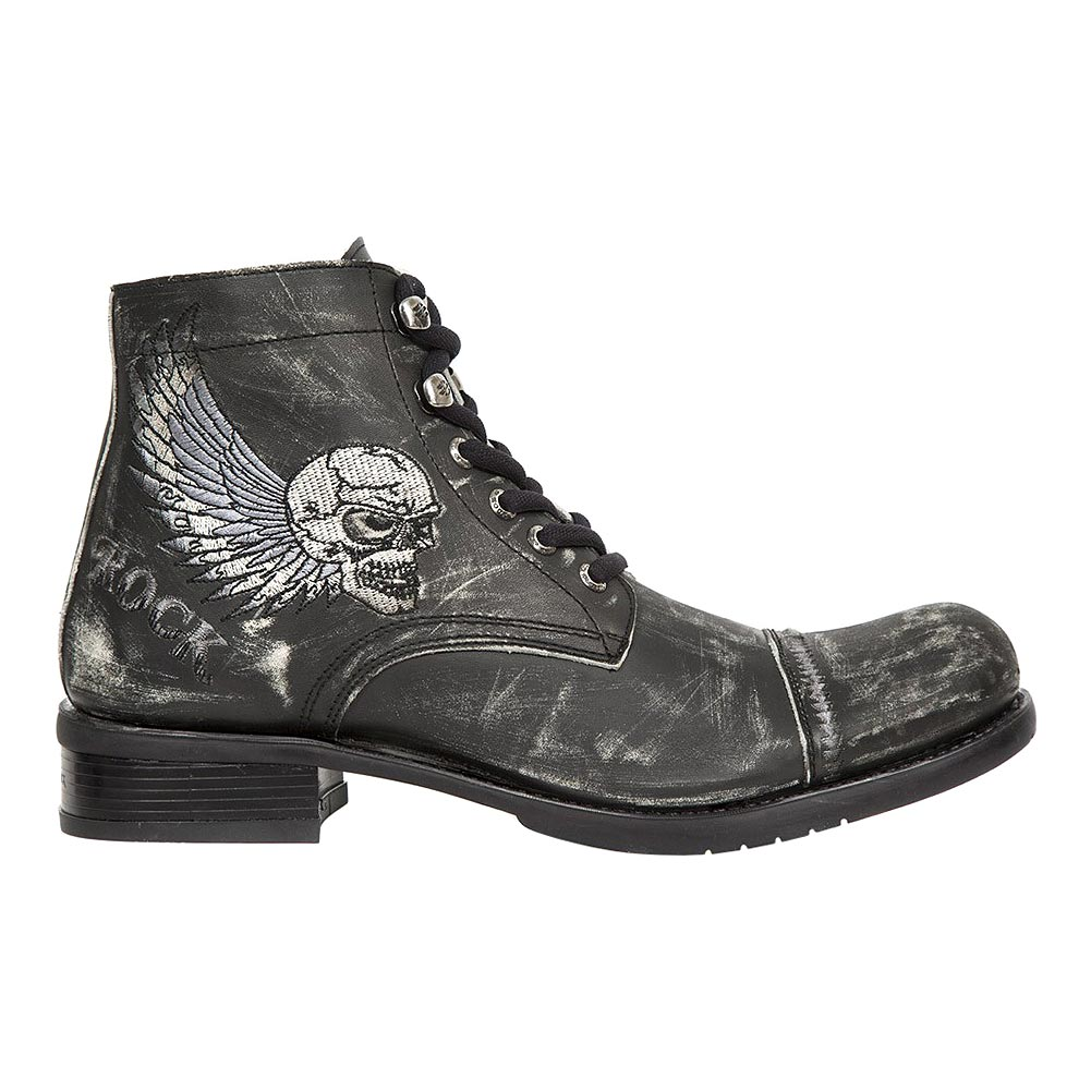 New Rock M.GY31-S10 Biker Embroidered Skull Ankle Boots (Brown/Black)