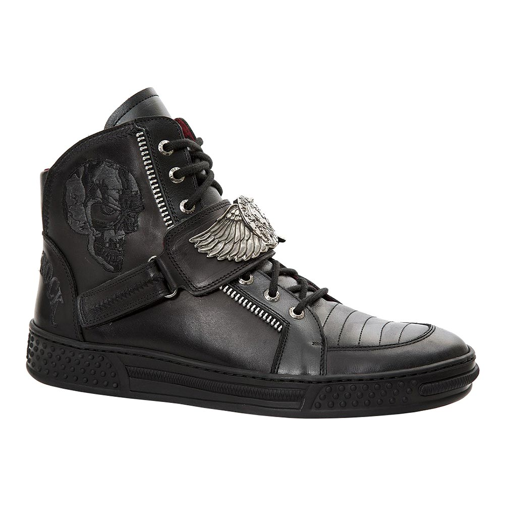 New Rock M.PS064-S2 Pisa Skull Wing Ankle Boots (Black)