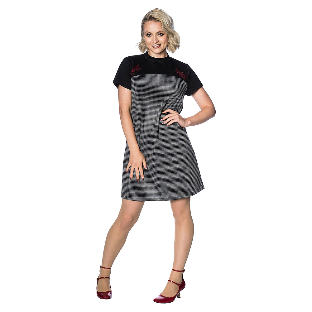 Banned 60s Mod Dress (Grey/Black)