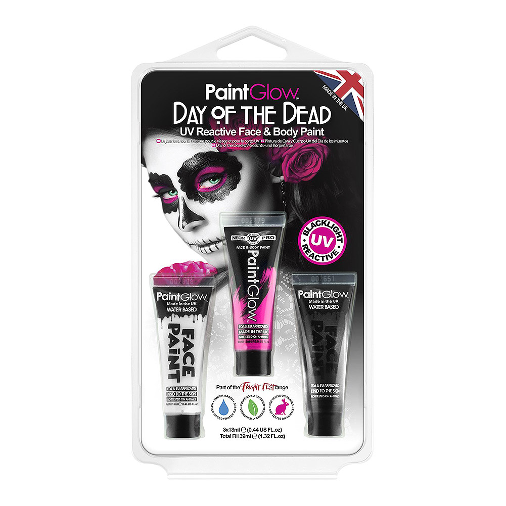 Paintglow Day Of The Dead UV Body Paint Kit (Black/White/Pink)