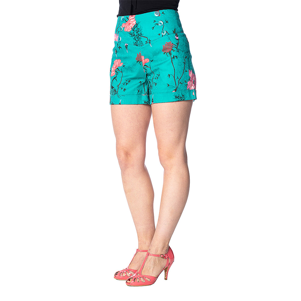 e0cf00cfec Banned Peacock Baroque Turquoise Shorts, Vintage Summer Clothing