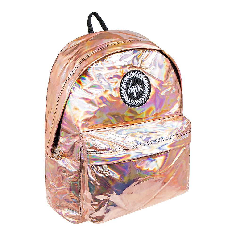 detailing fashion popular brand Details about Hype Holographic Rose Gold Travel College Backpack/Day  Rucksack/School Bag
