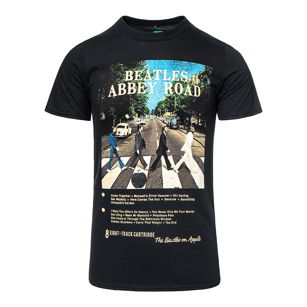 Official The Beatles Abbey Road 8 Track T Shirt (Black)