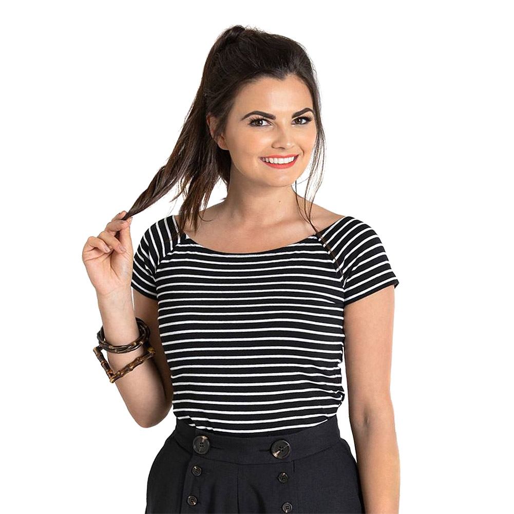 Hell Bunny Verity Striped Top (Black/White)