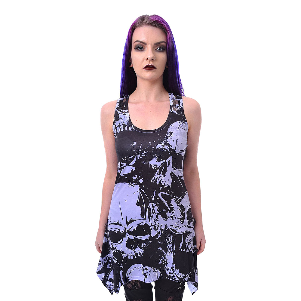 Heartless Skull Pattern Lace Vest Top (Schwarz/Weiß)