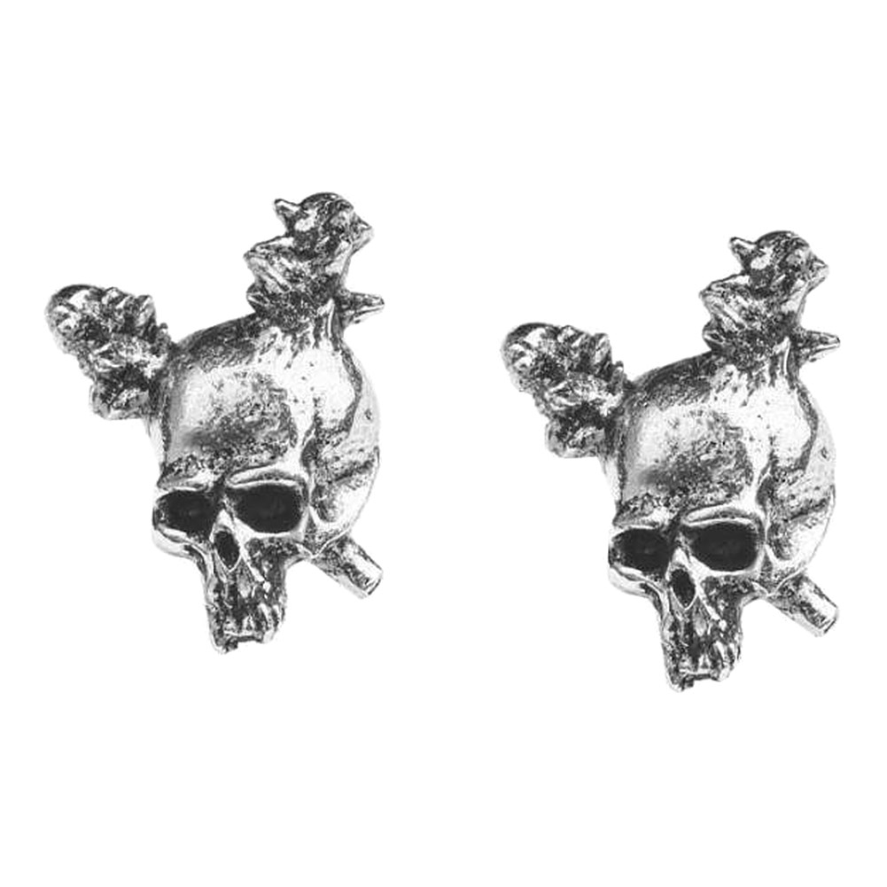 Alchemy Rocks Metallica Skull Stud Earrings (Pewter)