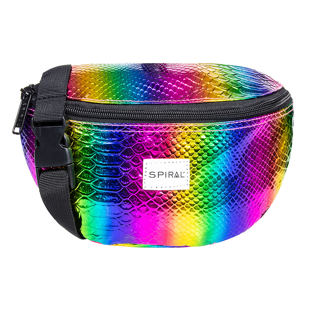 Spiral Textured Rainbow Rave Bum Bag (Multi)