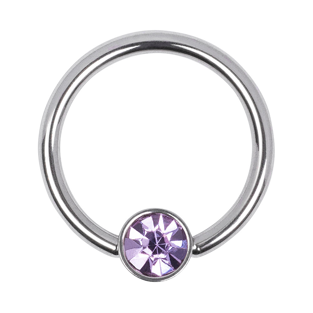 Blue Banana Surgical Steel 1.2mm Flat Jewelled BCR (Amethyst)