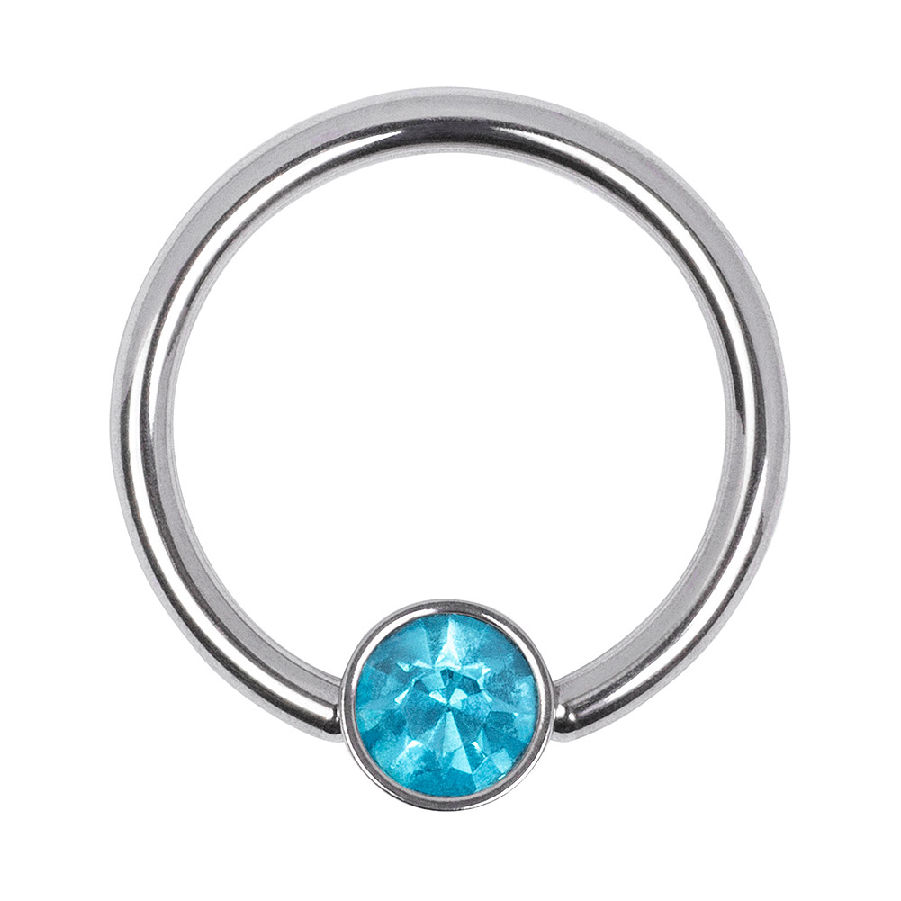 Blue Banana Surgical Steel 1.2mm Flat Jewelled BCR (Zircon)