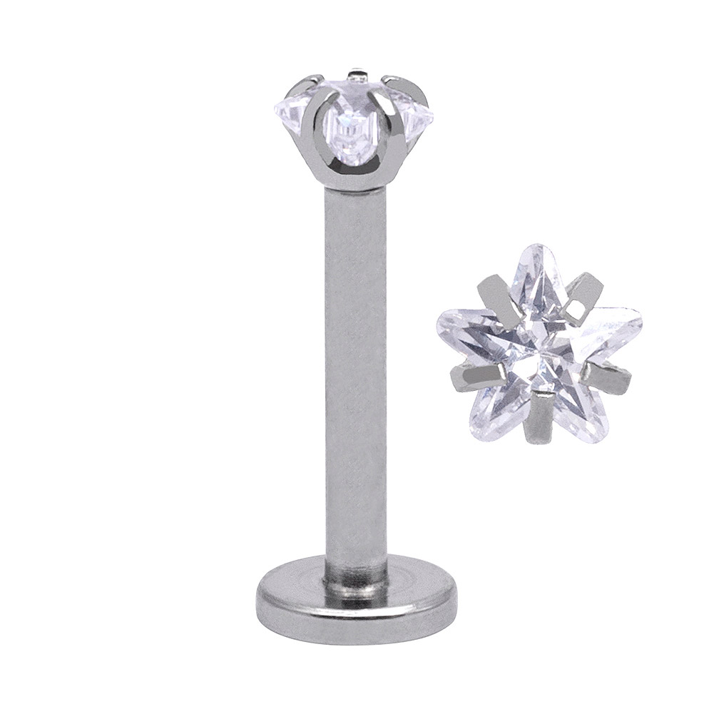 Blue Banana Surgical Steel 3mm Star 1.2mm Labret (Crystal)