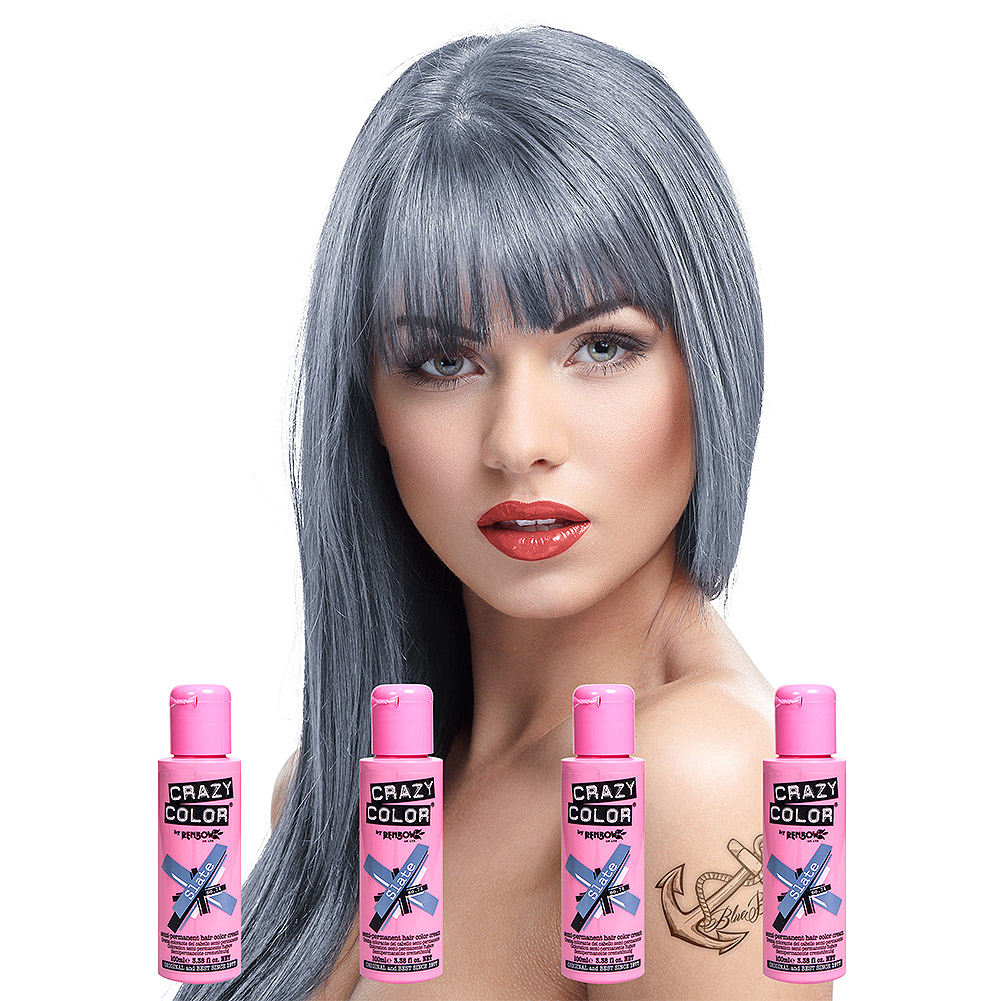 Crazy Color Pack de 4 x Tinte Capilar Semi-Permanente de 100ml - Gris Pizarra