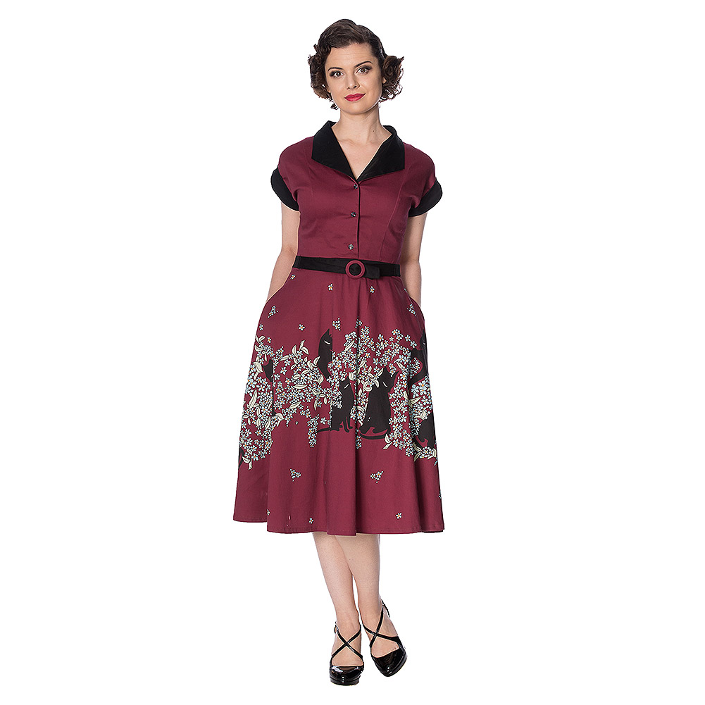 Banned Black Cat Bloom Dress (Maroon)