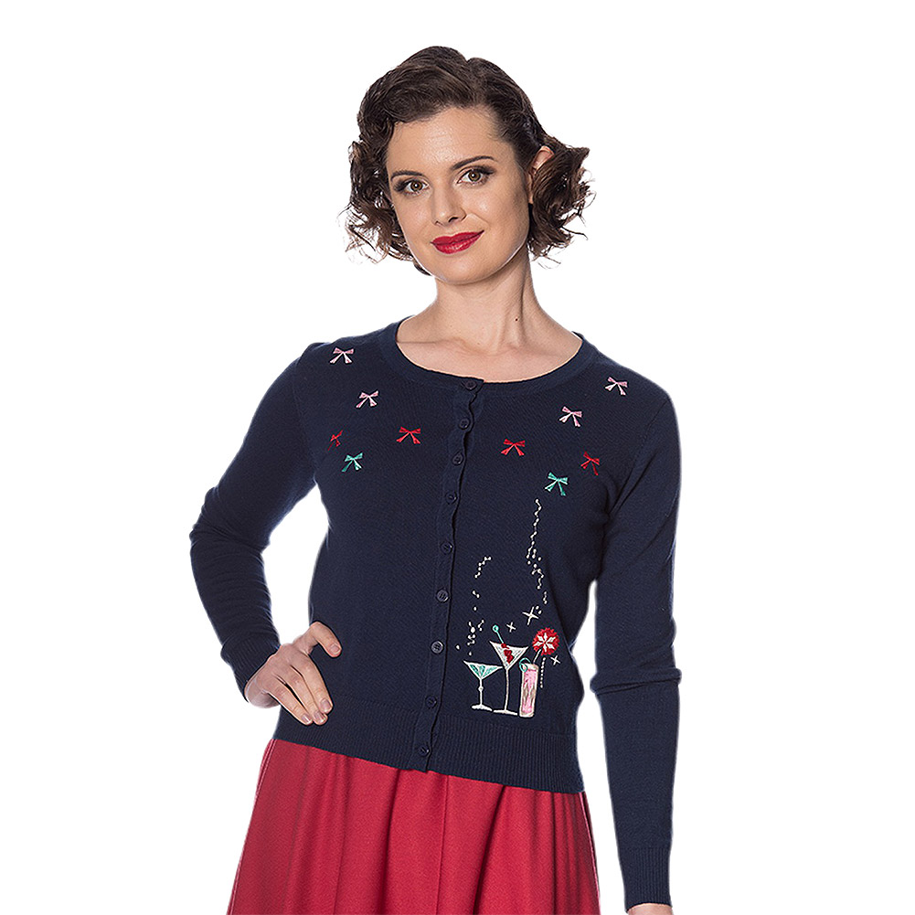 Banned Christmas Cocktails Cardigan (Navy)