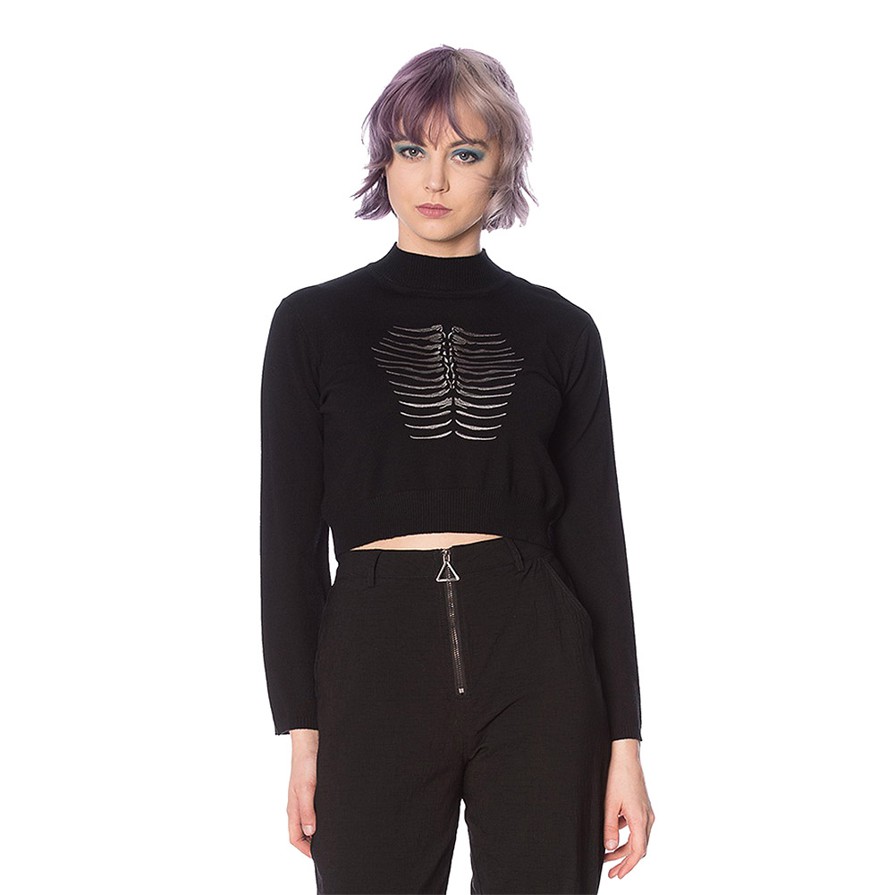 Banned Fossil Pullover (Schwarz)