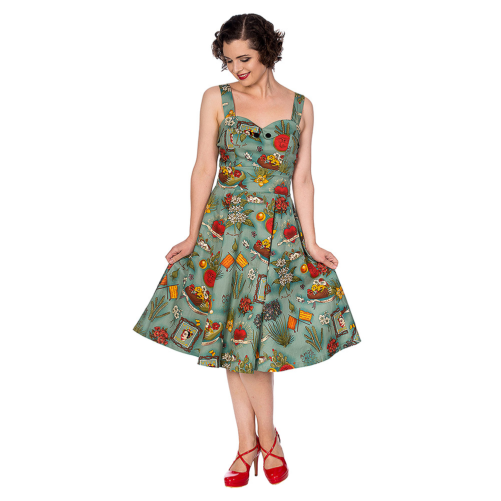 Banned Retro Summer Moon Rockabilly Kleid (Aqua Blau)