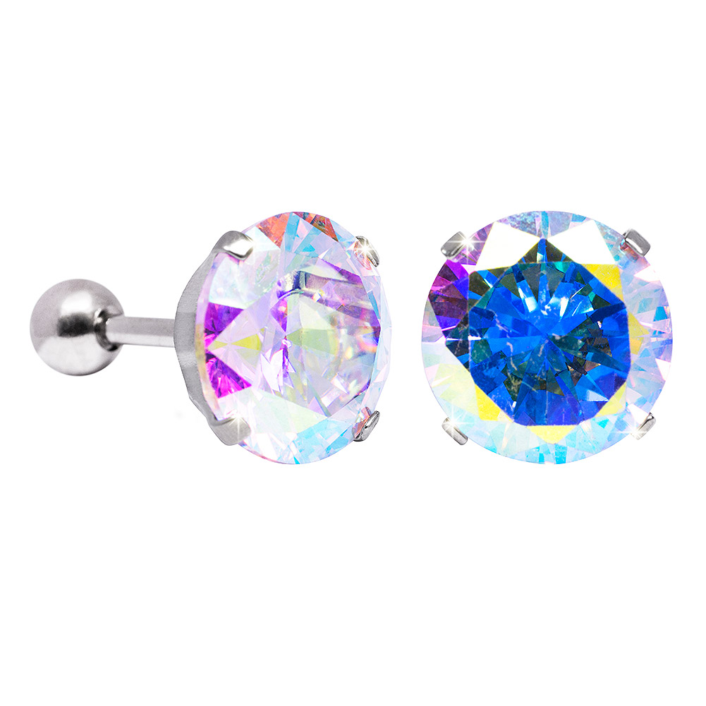 Blue Banana 10mm Cubic Zirconia Gem Earrings (Aurora Borealis)