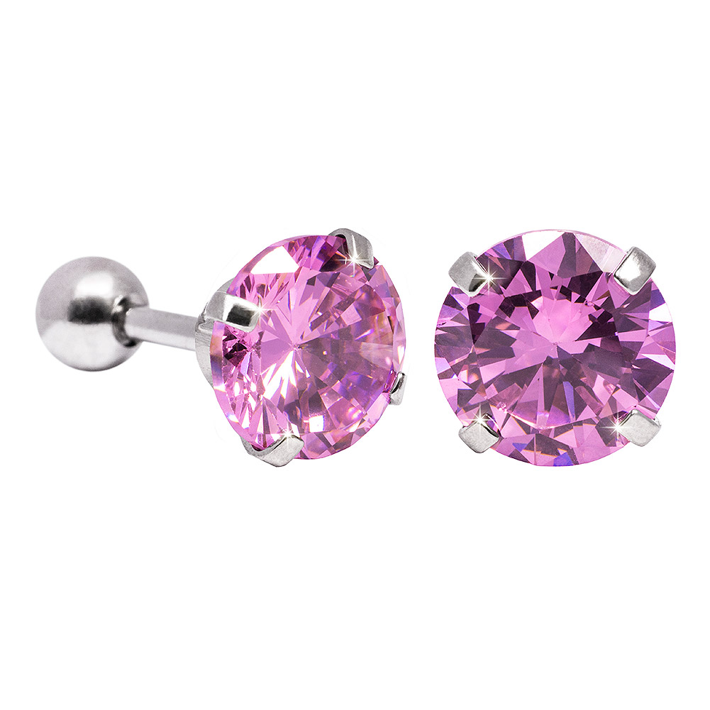 Blue Banana 8mm Cubic Zirconia Gem Earrings (Rose)
