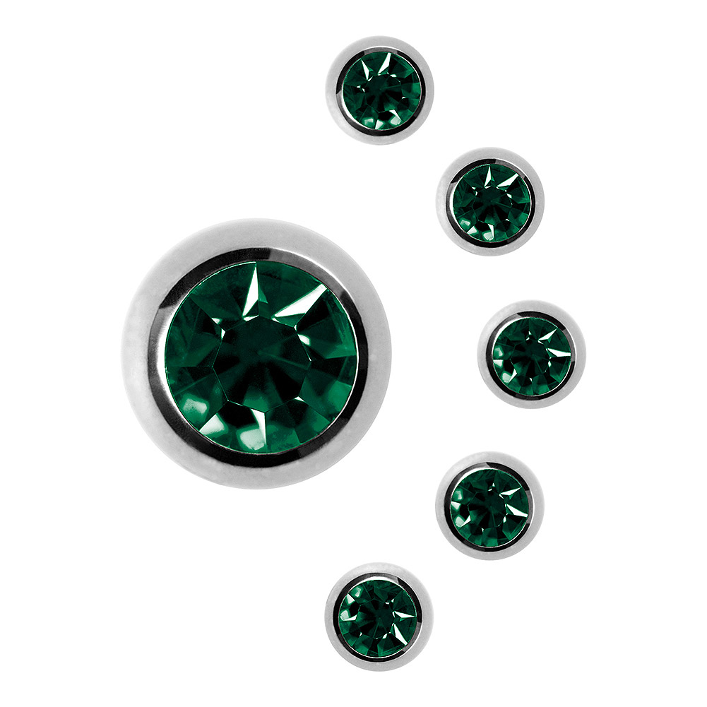 Blue Banana Surgical Steel 6mm Jewelled Ball (Emerald Green)