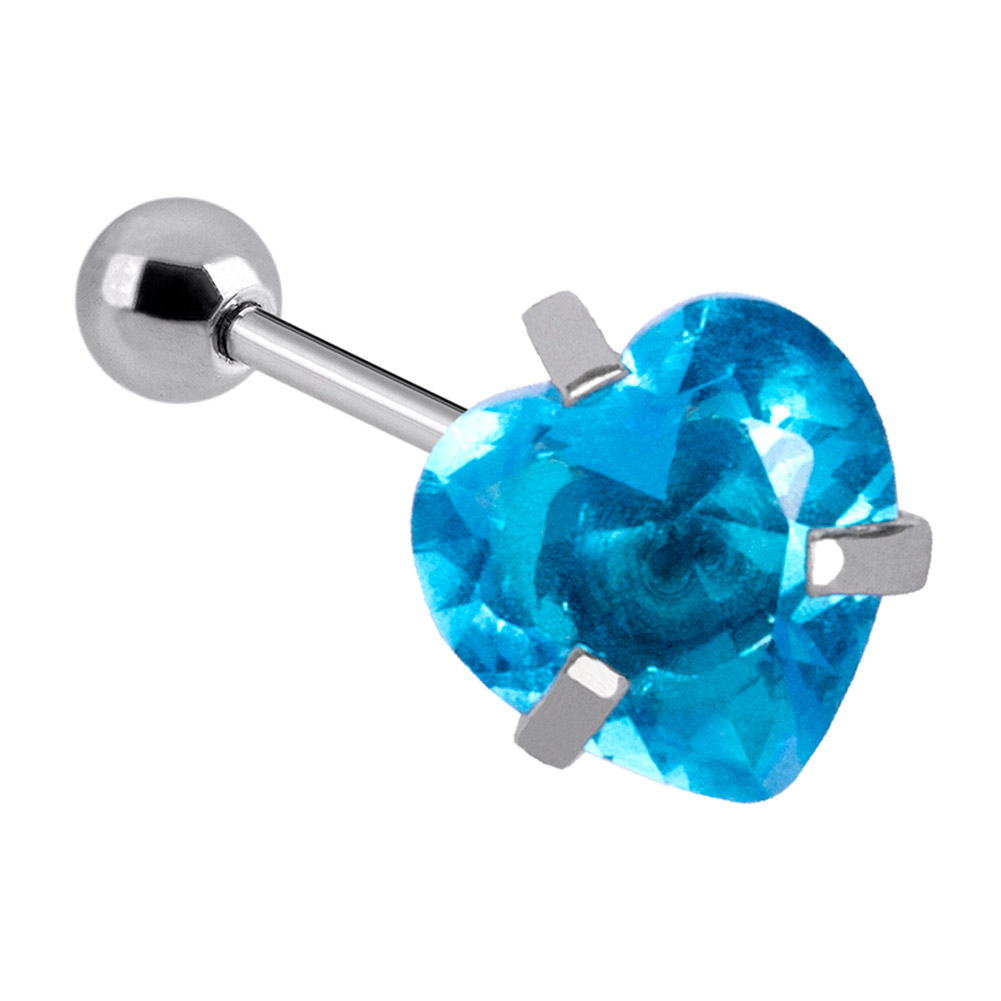 Blue Banana Surgical Steel Heart Jewel 1.2 x 6mm Tragus Bar (Aqua)