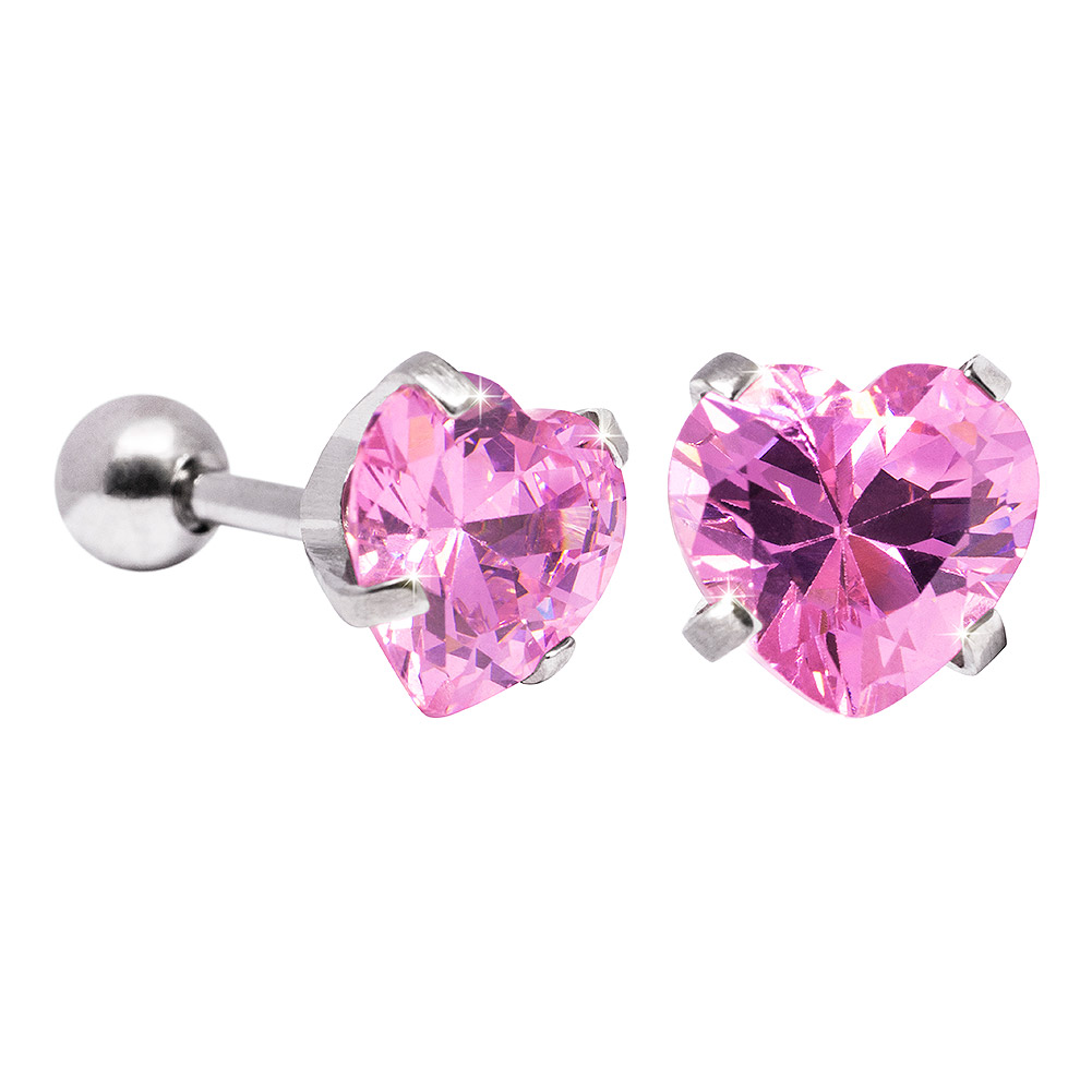 Blue Banana 8mm Cubic Zirconia Heart Earrings (Rose)