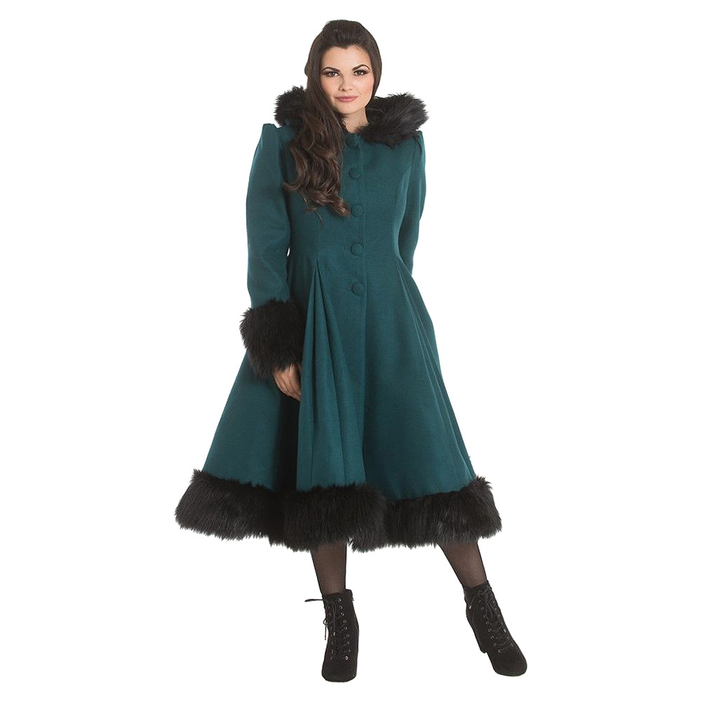Hell Bunny Elvira Swing Coat (Deep Green)