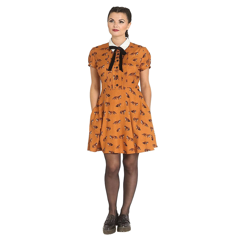 Hell Bunny Vixey Dress (Brown)