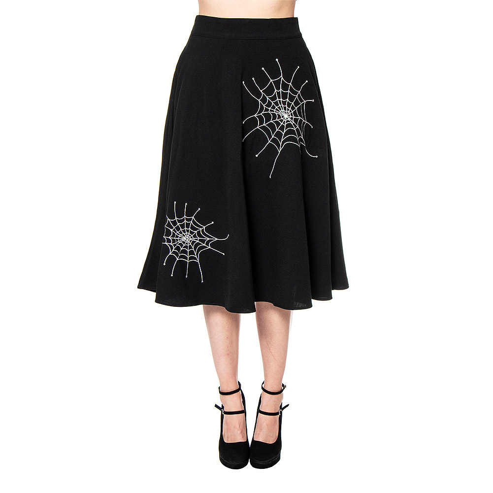 Voodoo Vixen Black Widow A Line Skirt (Black)