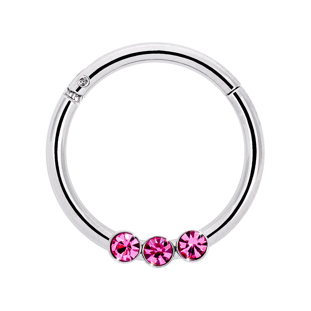 Blue Banana Surgical Steel 1.2mm Stones Hinged Segment Ring (Rose)