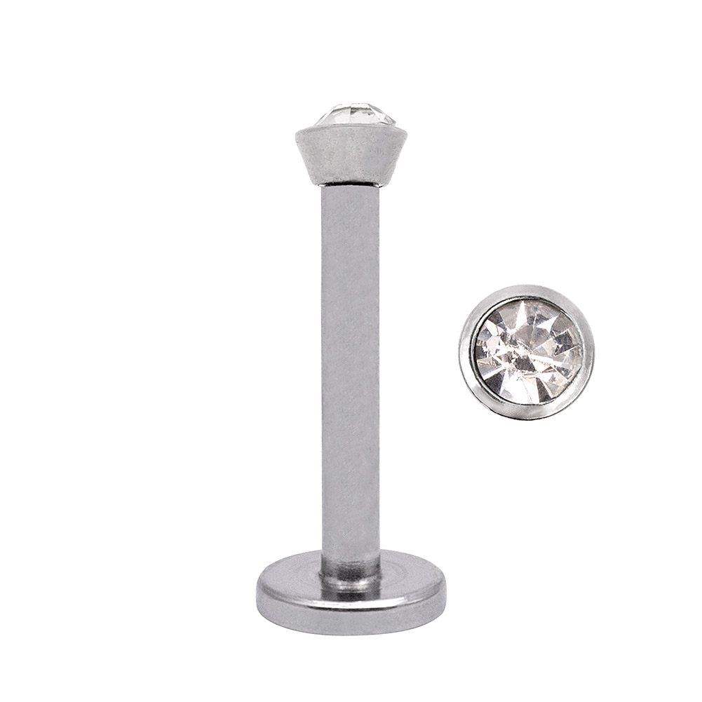 Blue Banana Surgical Steel 1.2mm Internally Threaded Jewelled Labret (Crystal)