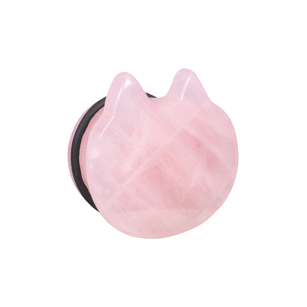 Blue Banana Rose Quartz Cat Plug 6-16mm (Pink)