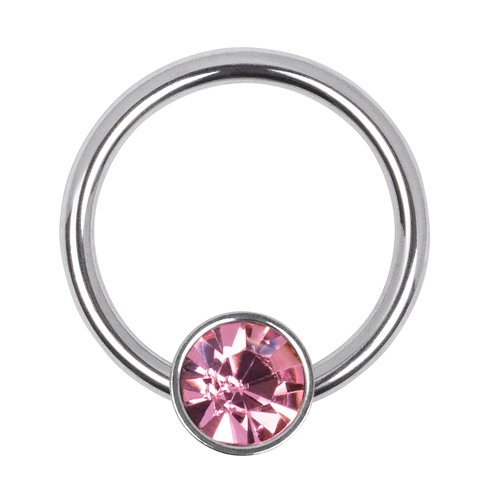Blue Banana Surgical Steel 1.2mm x 8mm Flat Jewelled BCR (Rose)