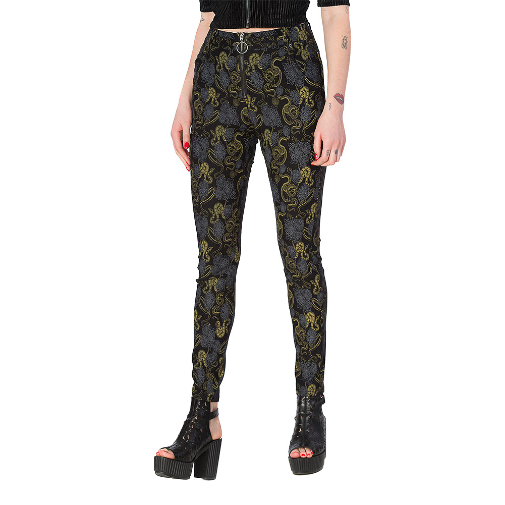Banned Slither Snake Print Skinny Jeans (Black)