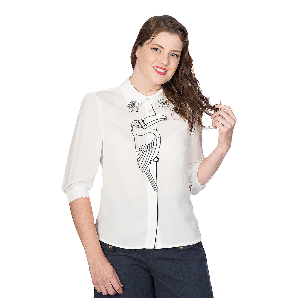 Banned Toucan Embroidered Blouse (White)